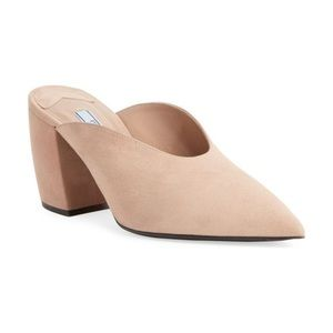 Prada Block-Heel Dipped Suede Mule. Size 36